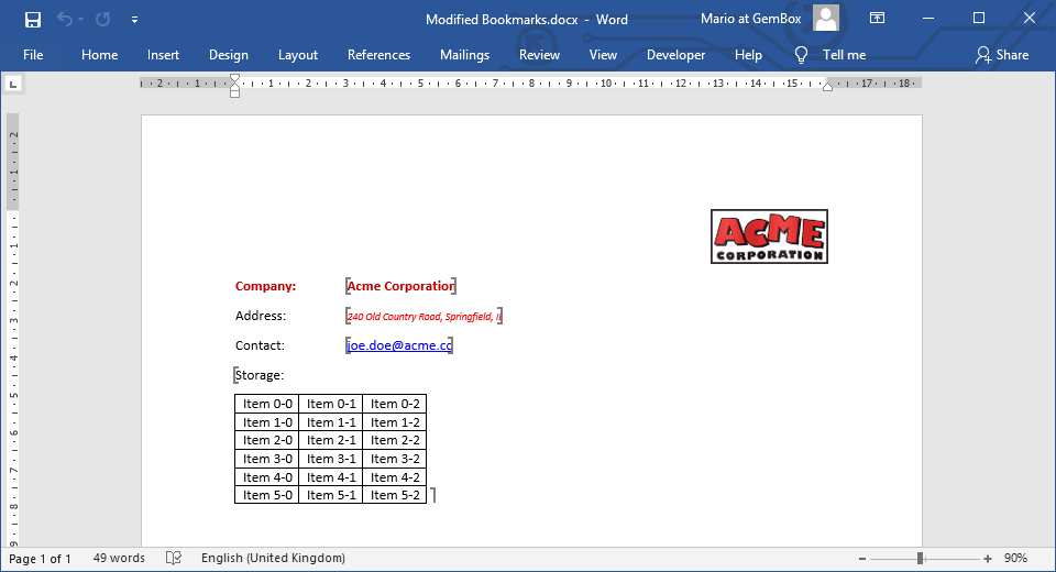 Word document with data inserted in bookmarks