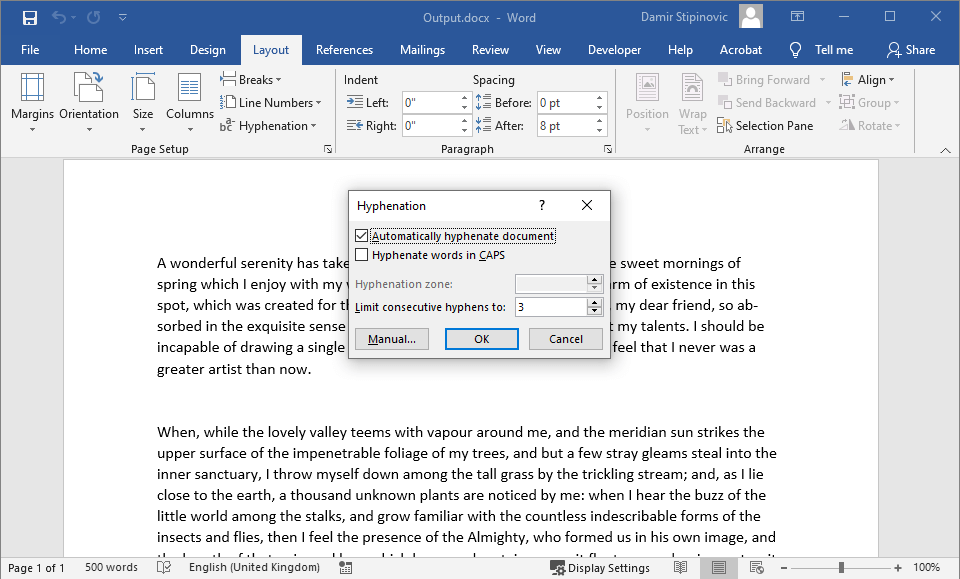 Hyphenation options in output Word file