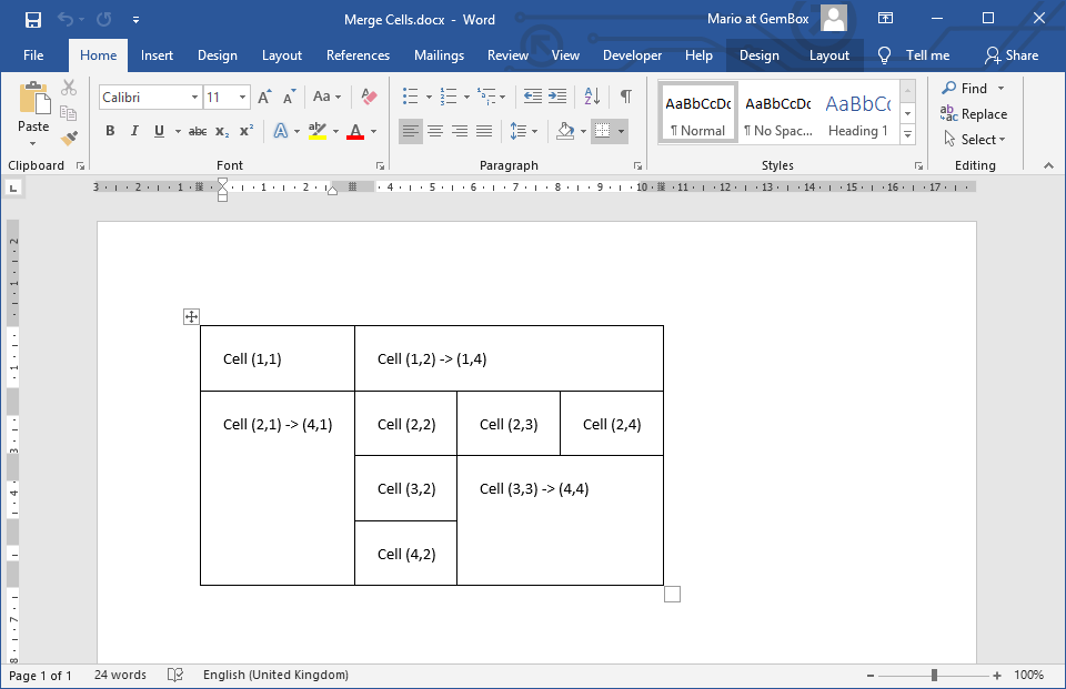 Word document with Table that has merged cells