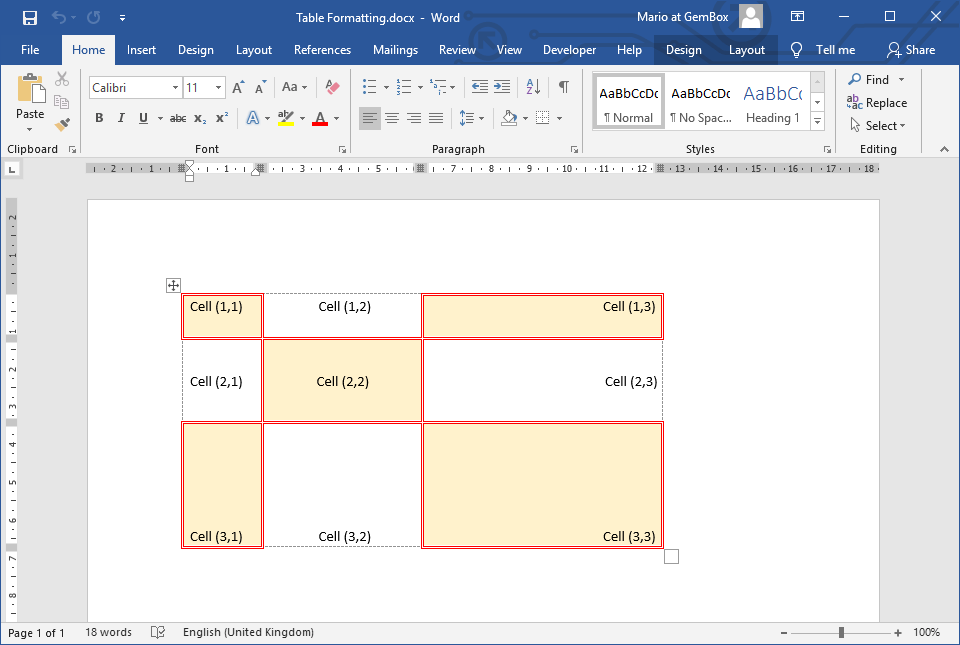 Word document with table, row and cell formatting set with GemBox.Document
