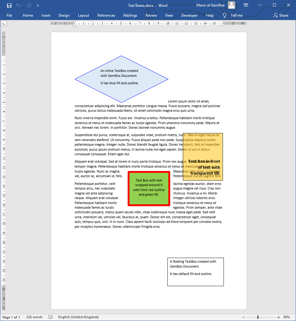 Word document with TextBox elements