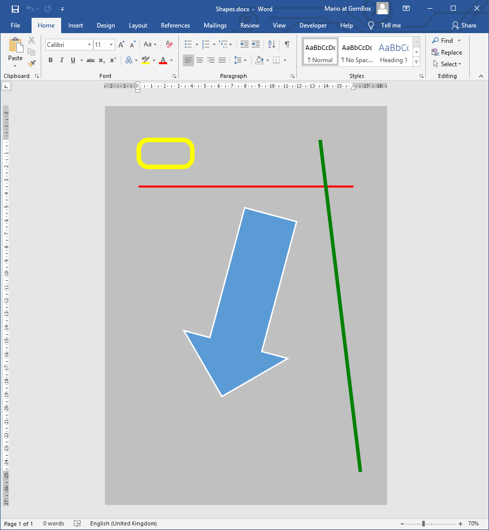 Word document with Shape elements