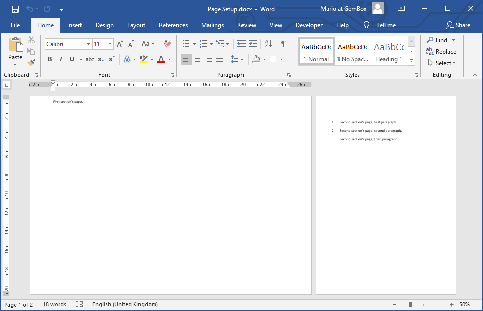 Word document with set page options like size and margin