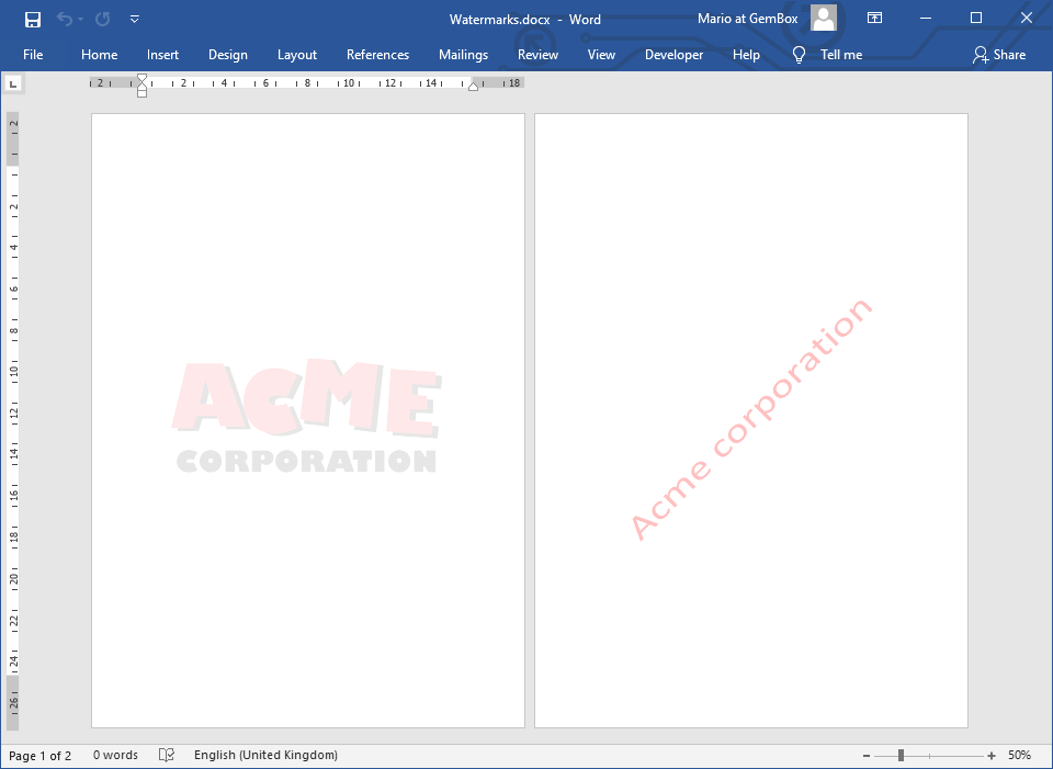 Word document with a watermark
