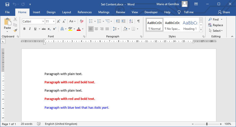 Set Word file's content with plain text, HTML text and other document's content.