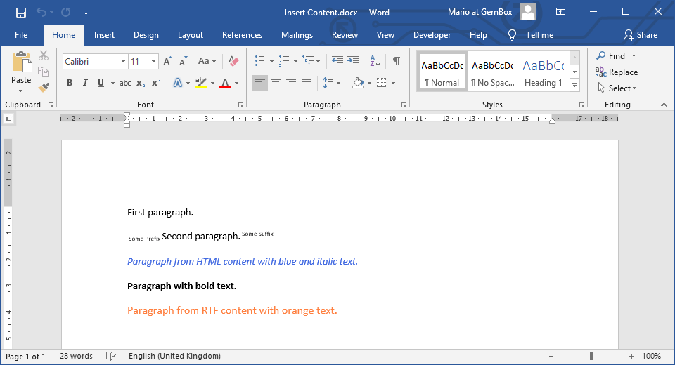 Word document with inserted HTML and RTF text in C# and VB.NET