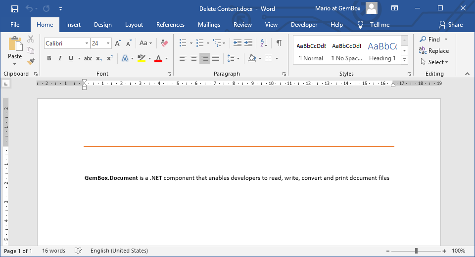 Deleted elements and specific text from Word file.