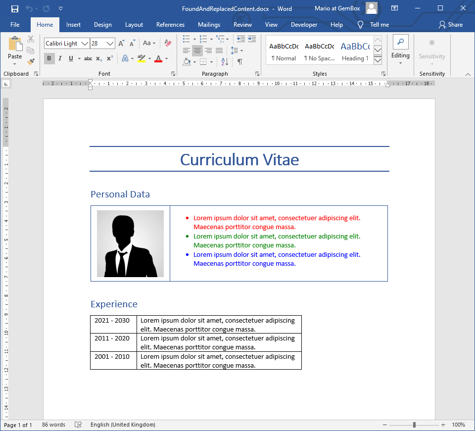 Finding and replacing text from Word document with image and table in C# and VB.NET