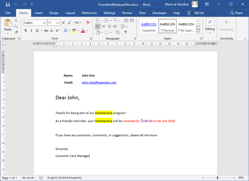 Finding and replacing or highlighting text from Word document in C# and VB.NET