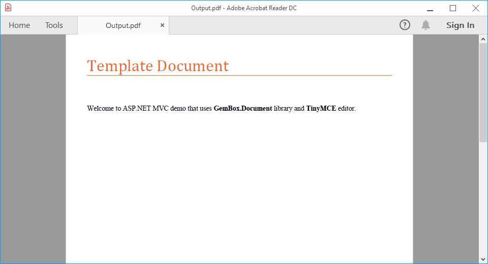 Generated and downloaded PDF document from template Word document in ASP.NET MVC demo application