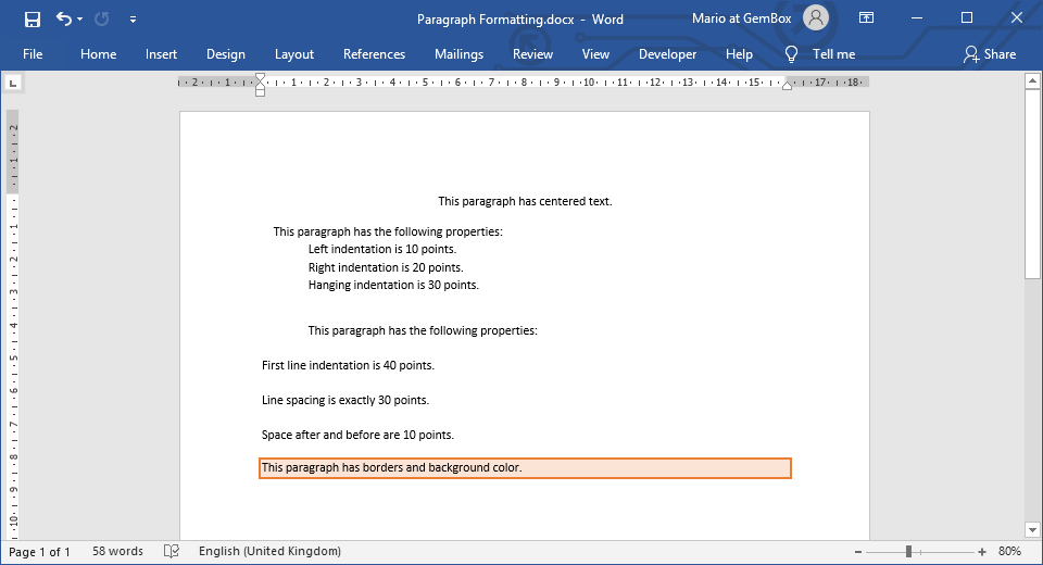 Paragraph Formatting | GemBox Document Example