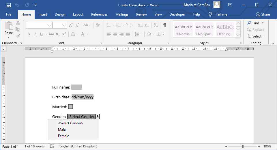 Creating Word document with text, check-box and drop-down form fields in C# and VB.NET