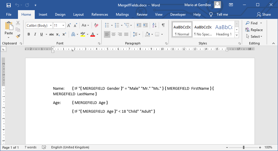 Word document with MERGEFIELD and IF fields