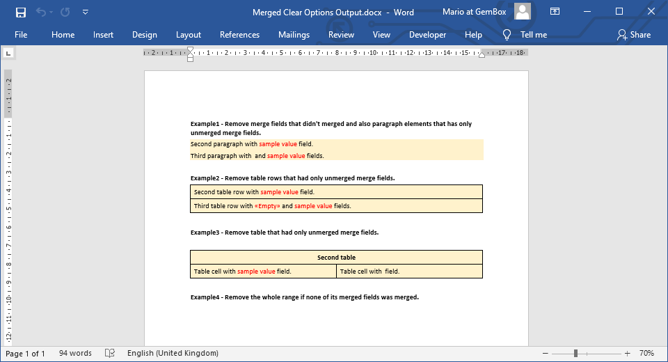 Word document generated with mail merge process that has clear options defined