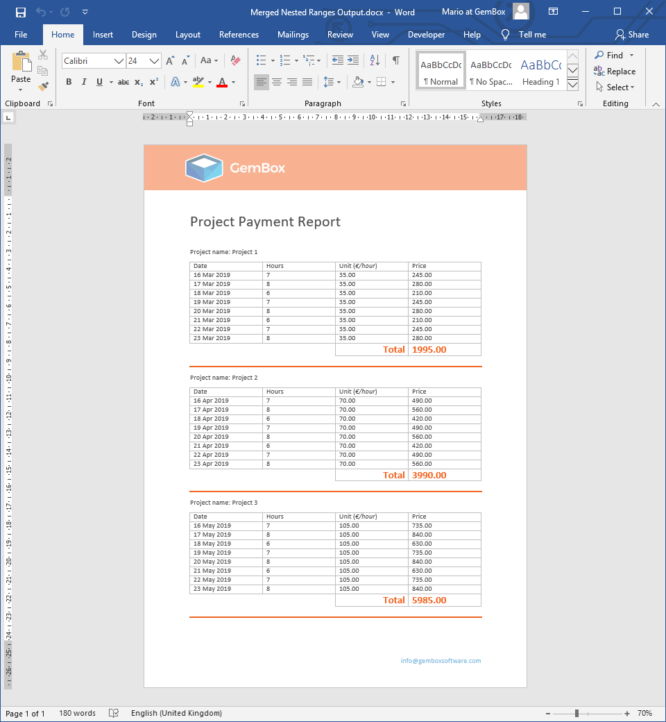 Word document generated from merging nested ranges with relational DataSet object