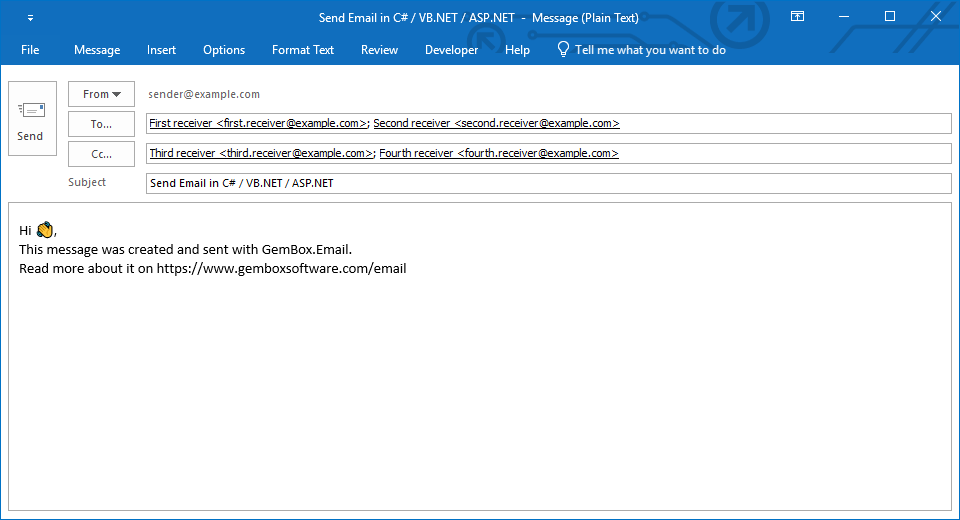 Sending a basic email in C# and VB.NET