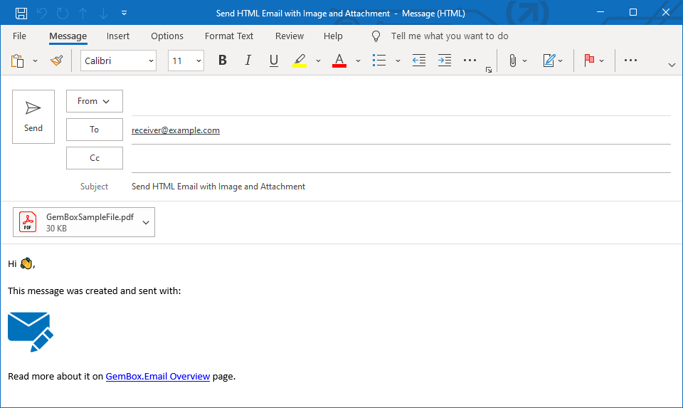 Send Html Email with Attachment from C# / VB NET
