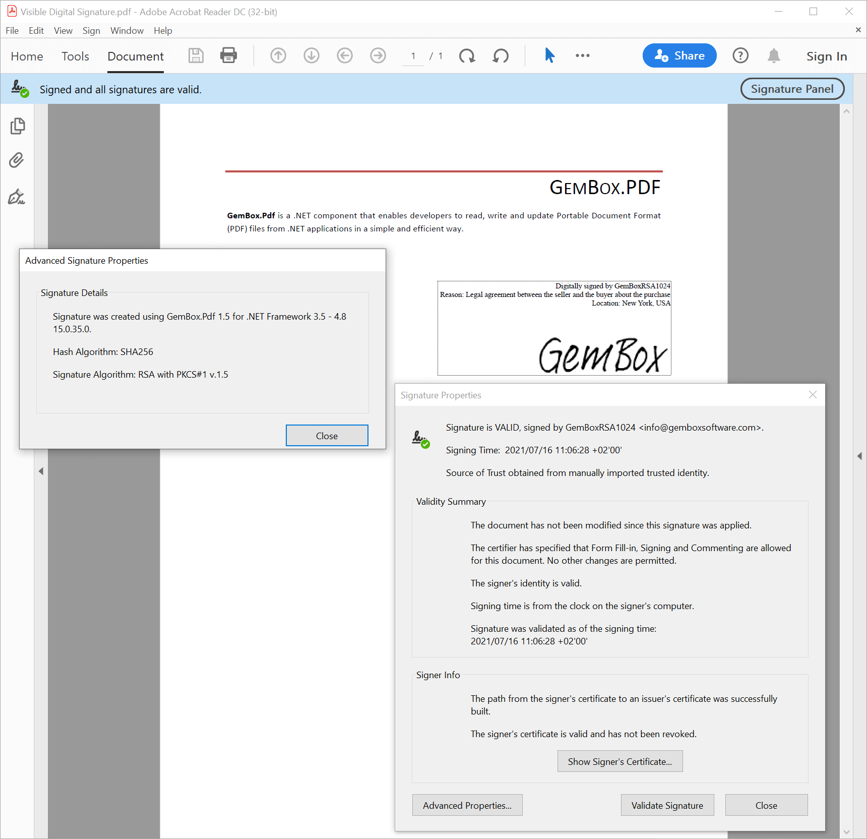 PDF file with visible digital signature