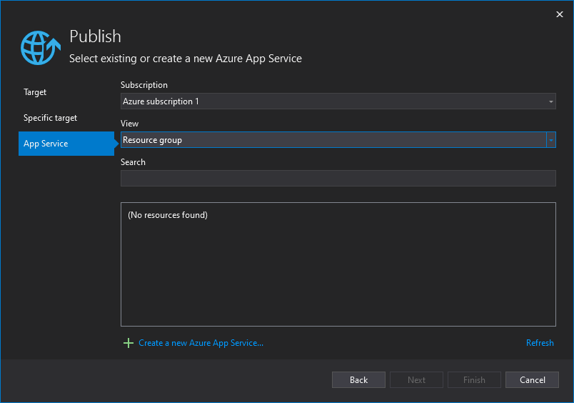 Screenshot of Visual Studio specific App Service selection