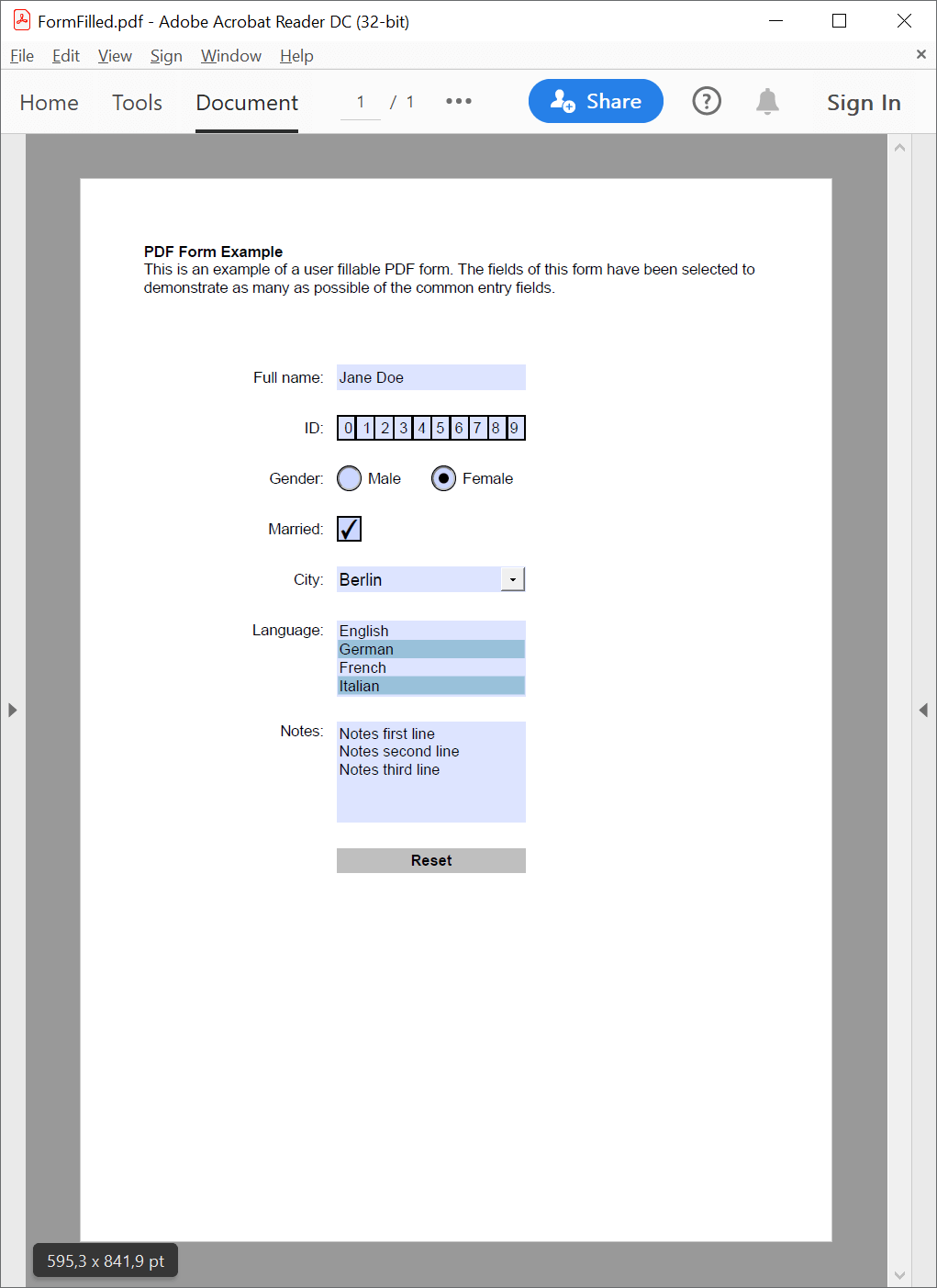 PDF interactive form filled in with GemBox.Pdf