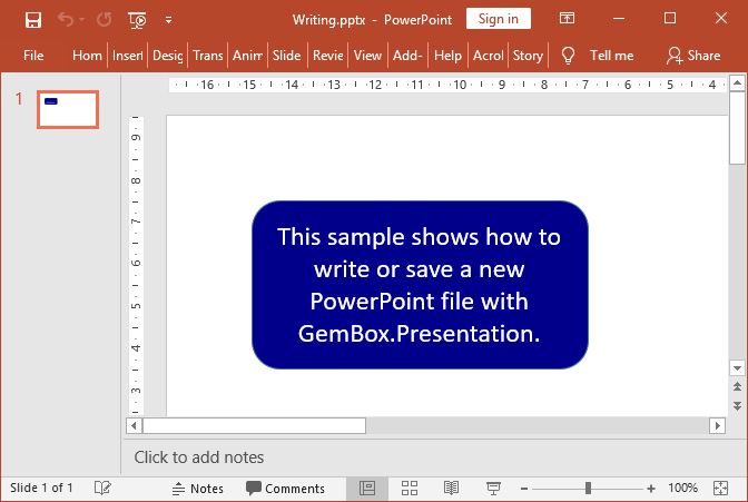 Creating and writing PowerPoint presentation's shape and text in C# and VB.NET