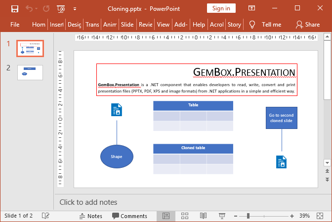 PowerPoint slide contents cloned with GemBox.Presentation