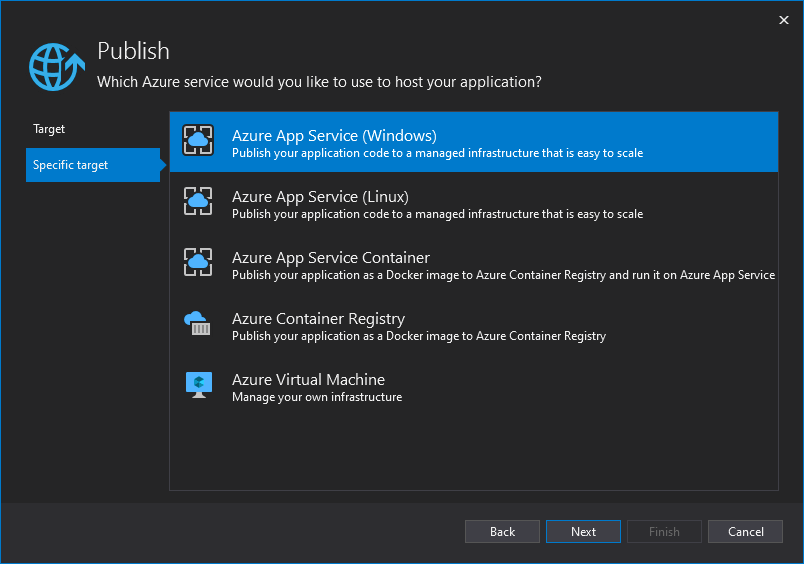 Screenshot of Visual Studio specific target selection