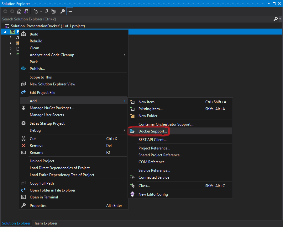 Visual Studio container tool for adding Docker to existing .NET Core project
