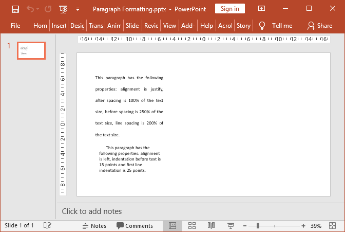 PowerPoint paragraphs formatted with GemBox.Presentation