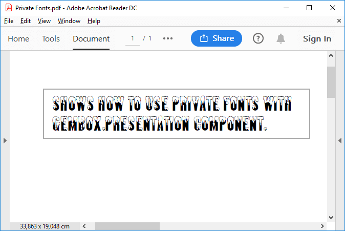 Slide text drawn using private font with GemBox.Presentation