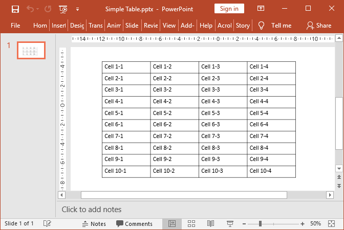 PowerPoint table created with GemBox.Presentation