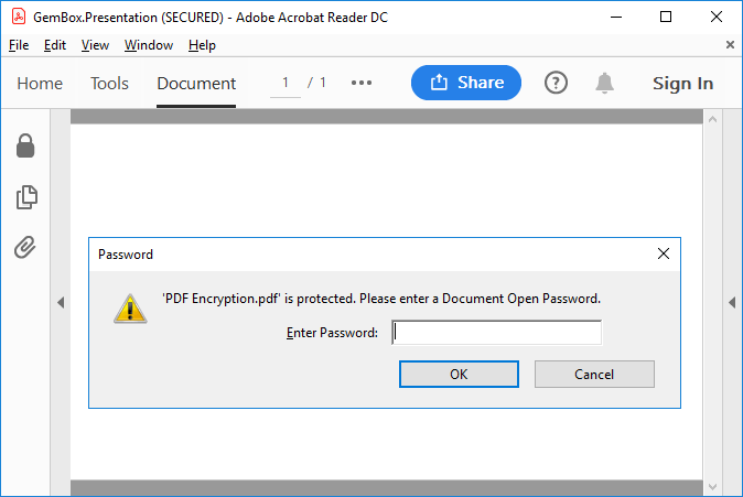 PDF encryption set with GemBox.Presentation