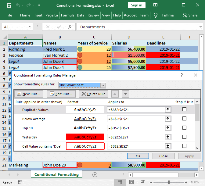 Excel conditional formatting created with GemBox.Spreadsheet for Java