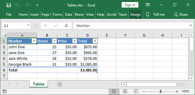 Excel Table created with GemBox.Spreadsheet