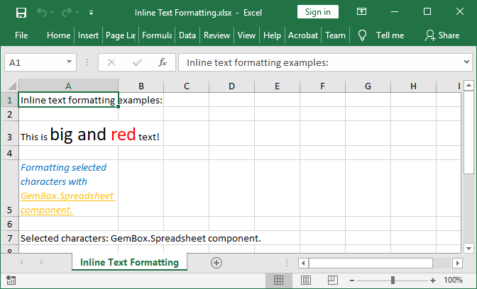 Excel cell inline text formatting set with GemBox.Spreadsheet for Java