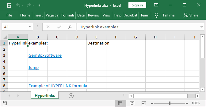 ExcelCell Hyperlinks Screenshot