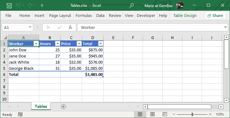 Create Excel Tables From C Vb Net Application