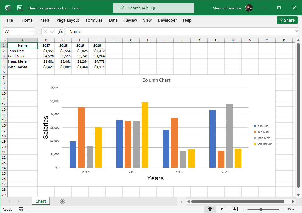 Excel chart components created with GemBox.Spreadsheet