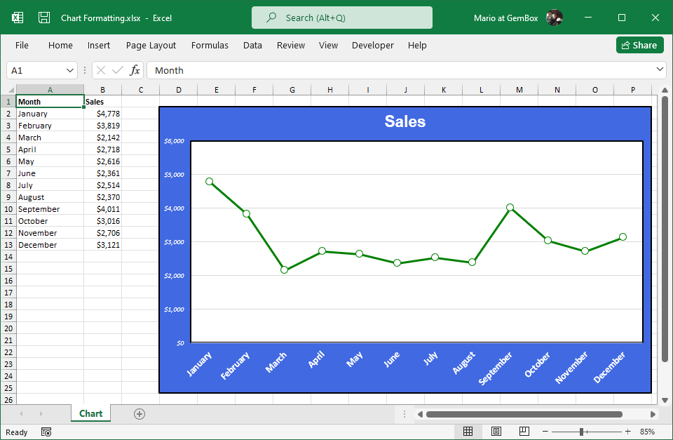 Excel chart formatted with GemBox.Spreadsheet