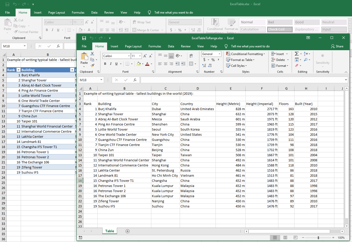 Convert an Excel table to a range from your C/VB.NET applications ...