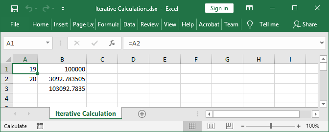 Excel formula with circular reference calculated with GemBox.Spreadsheet