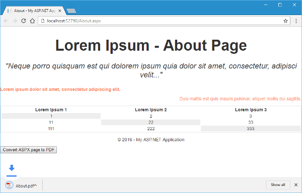 ASPX About Page Screenshot