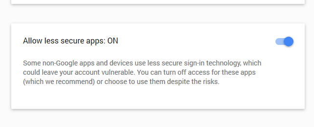Allow less secure apps: ON